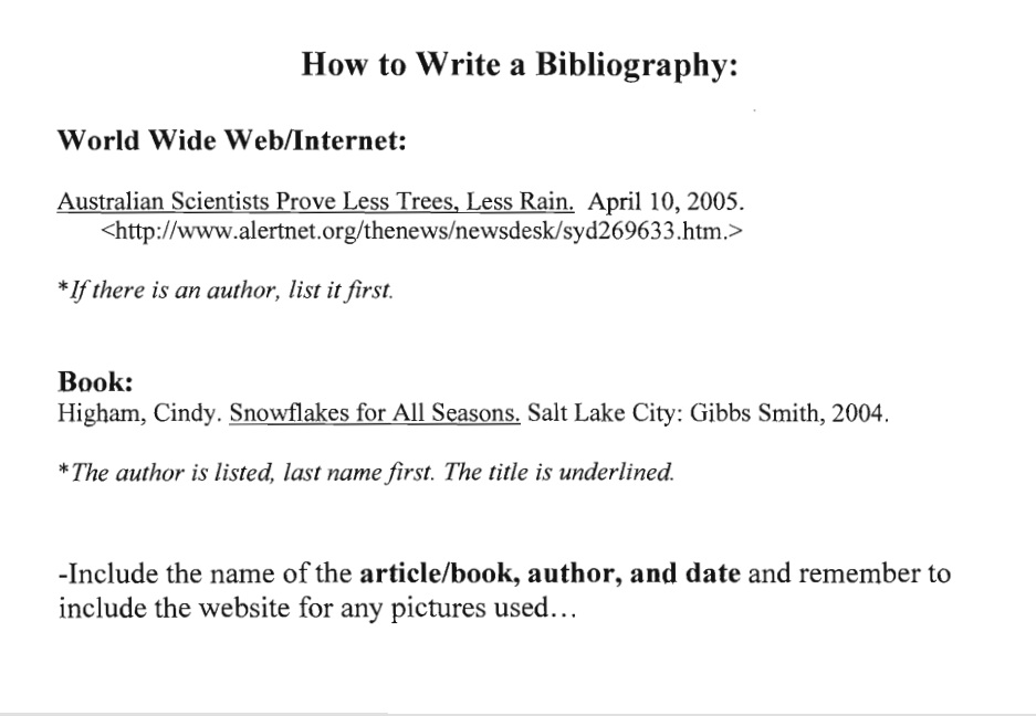 how to write a bibliography for websites